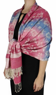 Silky Tropical Hawaiian Pansy Shawl Scarf Pink Cream