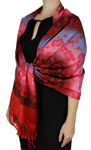 Silky Tropical Hawaiian Pansy Shawl Scarf Red
