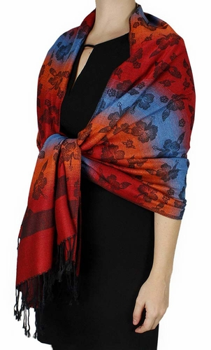 Silky Tropical Hawaiian Pansy Shawl Scarf Red Orange