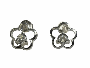 Simple CZ Flower Earrings
