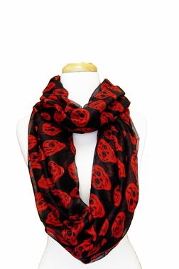 Skull Design Infinity Loop Scarf (Black/Red)