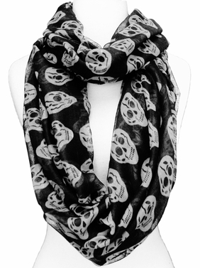 Skull Design Infinity Loop Scarf (Black/White)