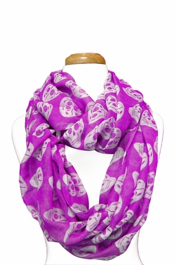 Skull Design Infinity Loop Scarf (Purple/White)