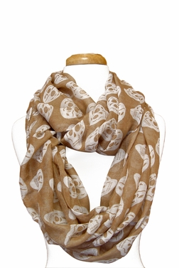 Skull Design Infinity Loop Scarf (Taupe/White)