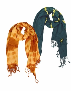 Soft and Silky Vibrant Colored Tie Dye Pashmina 2 Pack Scarf Set (Camel/Green)