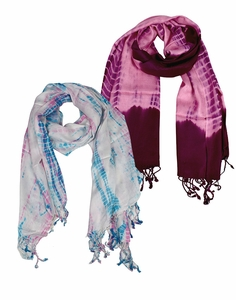 Soft and Silky Vibrant Colored Tie Dye Pashmina 2 Pack Scarf Set (Plum/Baby Blue)