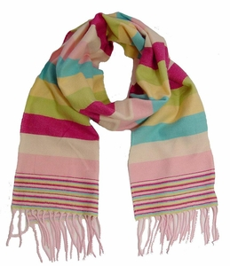 Soft and Warm Cashmere Feel Light Scarf (Striped Rainbow)