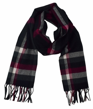 Soft and Warm Cashmere Feel Light Unisex Scarf (Maroon Plaid)