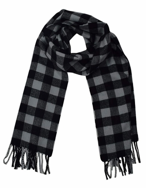 Soft and Warm Cashmere Feel Light Unisex Scarf (Plaid Dark Grey and Black)