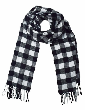 Soft and Warm Cashmere Feel Light Unisex Scarf (Plaid Grey/Black)
