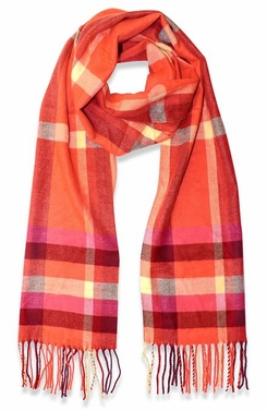 Soft and Warm Cashmere Feel Light Unisex Scarf (Plaid Orange/Red)