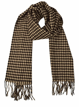 Soft and Warm Cashmere Feel Light Unisex Scarves (Tan/Brown Houndstooth)