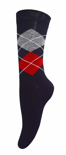 Women's Soft and Warm Comfortable Long Cashmere Argyle Socks (Black)