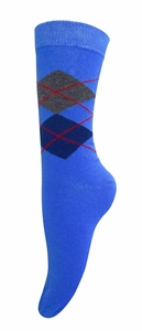 Women's Soft and Warm Comfortable Long Cashmere Argyle Socks (Blue)