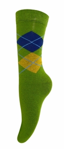Women's Soft and Warm Comfortable Long Cashmere Argyle Socks (Green)