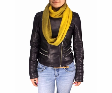 Cashmere feel Gorgeous Warm Two Toned Infinity loop neck scarf snood (Yellow)
