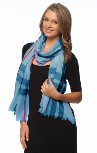 Soft Fashion Plaid Print Long Scarf Wrap Shawl Blue  ! By Invitation Only !