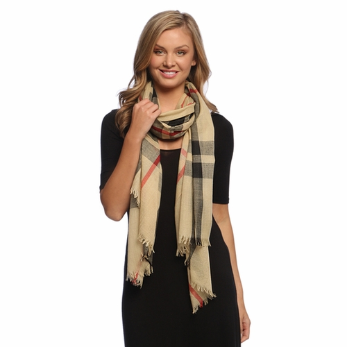 Soft Fashion Plaid Print Long Scarf Wrap Shawl Tan  ! By Invitation Only !