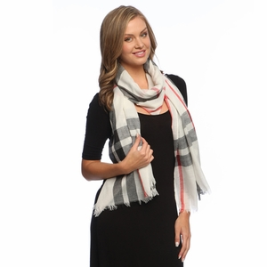 Soft Fashion Plaid Print Long Scarf Wrap Shawl White  ! By Invitation Only !
