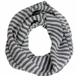 Soft & Light Gray and White Striped Loop Scarf