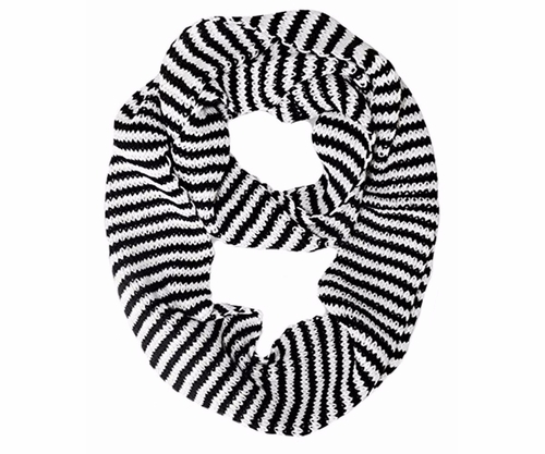 Warm Knitted Soft Light Striped Infinity Loop Scarf White and Black