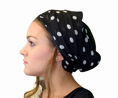 Soft & Sheer White with Black Polka Dots Head Scarf