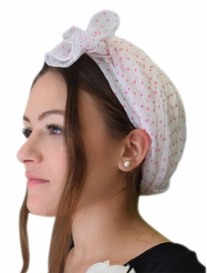 Soft & Sheer White with Pink Polka Dots Head Scarf