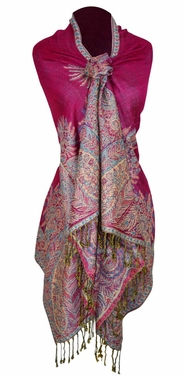 Soft Vintage Persian Paisley Printed Solid Pashmina Shawl Scarf (Fuchsia)