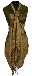 Soft Vintage Persian Paisley Printed Solid Pashmina Shawl Scarf (Olive)