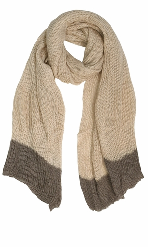 Loose Border Hand Knit Warm Scarf Oatmeal