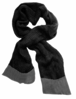 Soft Warm Chunky Loose Hand Knit Scarf  (Black Grey)