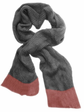 Soft Warm Chunky Loose Hand Knit Scarf (Grey Pink)