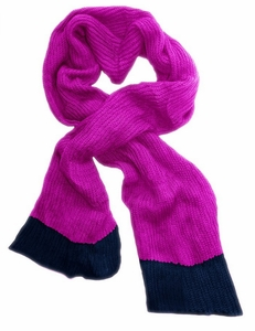 Soft Warm Chunky Loose Hand Knit Scarf (Hot Pink & Navy)
