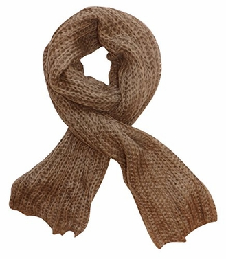 Soft Warm Chunky Loose Hand Knit Scarf (Taupe)