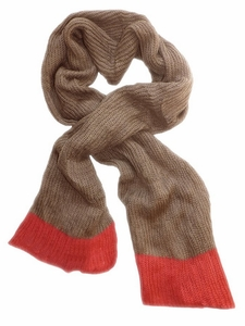 Soft Warm Chunky Loose Hand Knit Scarf (Taupe Coral)