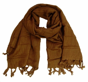 Solid Brown Pure 100% Cotton Scarf