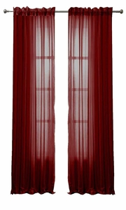 Solid Color Woven Curtains Sheer Window Panel Set Curtain, 55 x 84 Burgundy