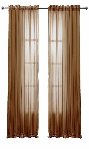 Solid Color Woven Curtains Sheer Window Panel Set Curtain, 55 x 84 Taupe