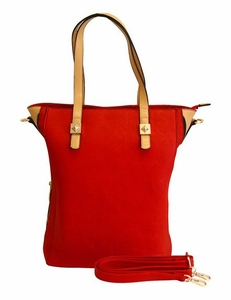 Classic Professional Oversized Zipper Tote Handbag Purse (Red)