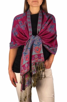 Sophisticated Reversible Floral Shawl (Fuchsia)