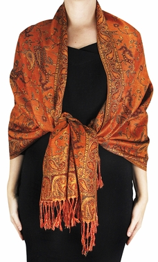 Sophisticated Reversible Paisley Floral Shawl (Pumpkin)