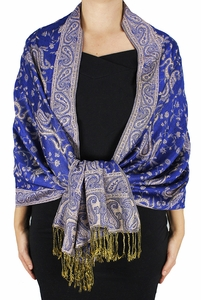 Sophisticated Reversible Paisley Floral Shawl (Royal Blue)