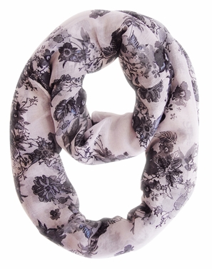 Spring Fashion Cherry Blossom Floral Print & Hummingbirds Infinity Loop Scarf (Black/White)