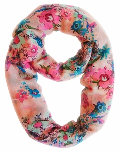 Spring Fashion Cherry Blossom Floral Print & Hummingbirds Infinity Loop Scarf (Peach)