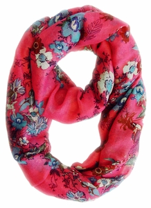 Spring Fashion Cherry Blossom Floral Print & Hummingbirds Infinity Loop Scarf (Pink)