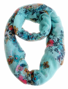 Spring Fashion Cherry Blossom Floral Print & Hummingbirds Infinity Loop Scarf (Sky Blue)