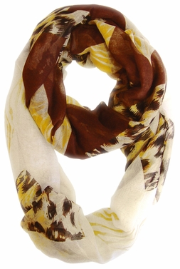 Fashionable Animal Mixed Print Chevron Infinity Loop (Brown/Tan)