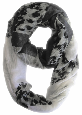 Fashionable Animal Mixed Print Chevron Infinity Loop (Grey)