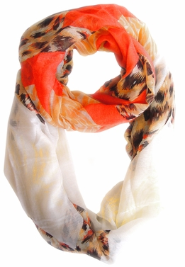 Fashionable Animal Mixed Print Chevron Infinity Loop (Salmon/Orange)