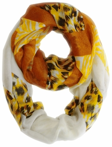 Fashionable Animal Mixed Print Chevron Infinity Loop (Yellow/Brown)